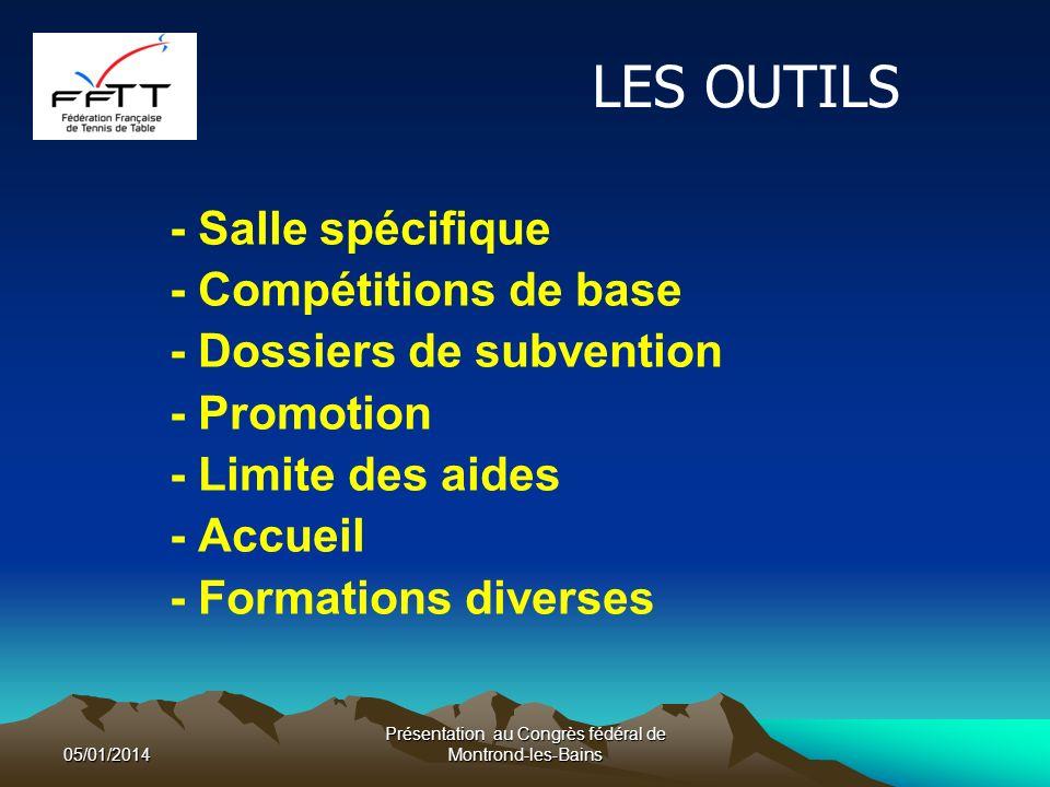 LES OUTILS - Salle spécifique - Compétitions de base - Dossiers de subvention - Promotion - Limite des aides - Accueil - Formations diverses 05/01/2014 Présentation au Congrès fédéral de Montrond-les-Bains