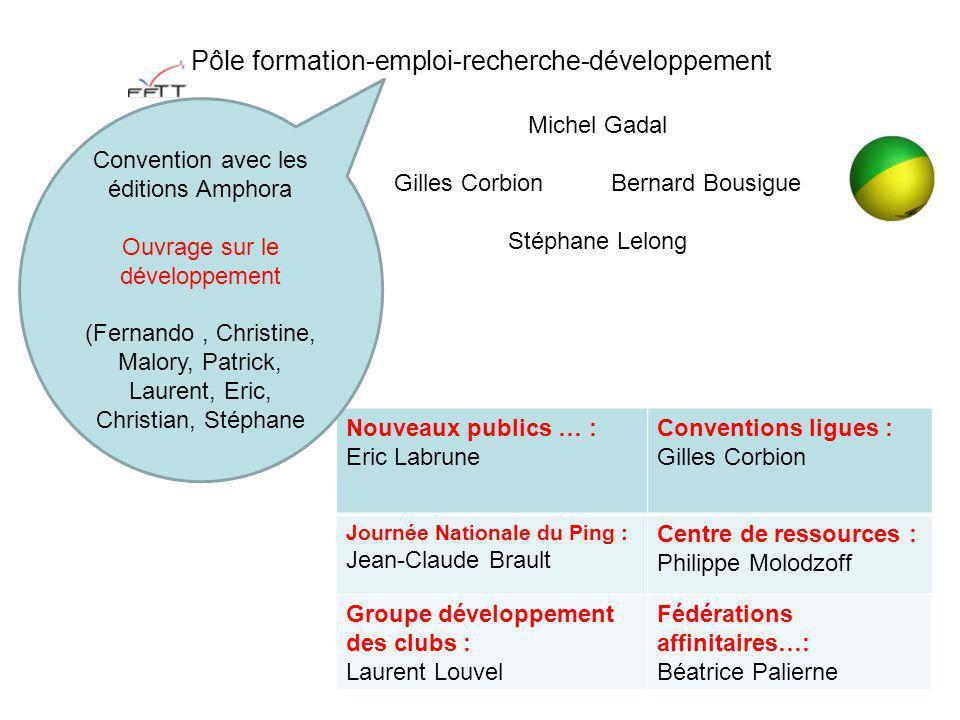 Pôle formation-emploi-recherche-développement Nouveaux publics … : Eric Labrune Conventions ligues : Gilles Corbion Journée Nationale du Ping : Jean-C