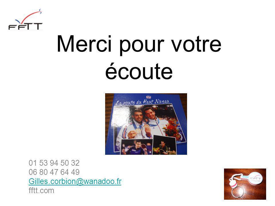 Merci pour votre écoute 01 53 94 50 32 06 80 47 64 49 Gilles.corbion@wanadoo.fr fftt.com