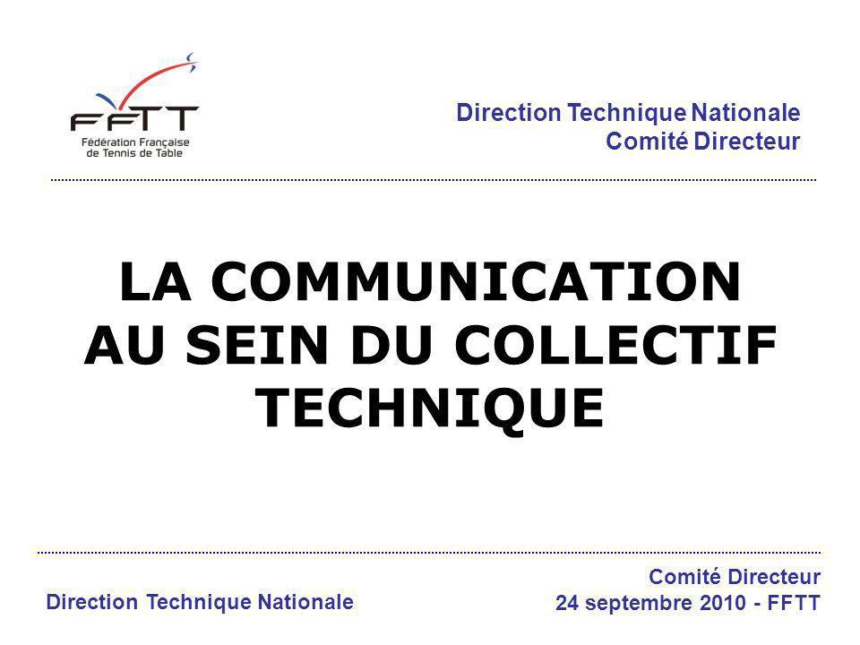 Communication DTN La commande / les objectifs Améliorer la communication verticale (projets) et transversale (harmonisation du PAT) au sein de la DTN Direction Technique Nationale Comité Directeur 24 septembre 2010 - FFTT Elargir le collectif (au-delà des CTS & CTF) Développer un travail collaboratif, une communication en réseau