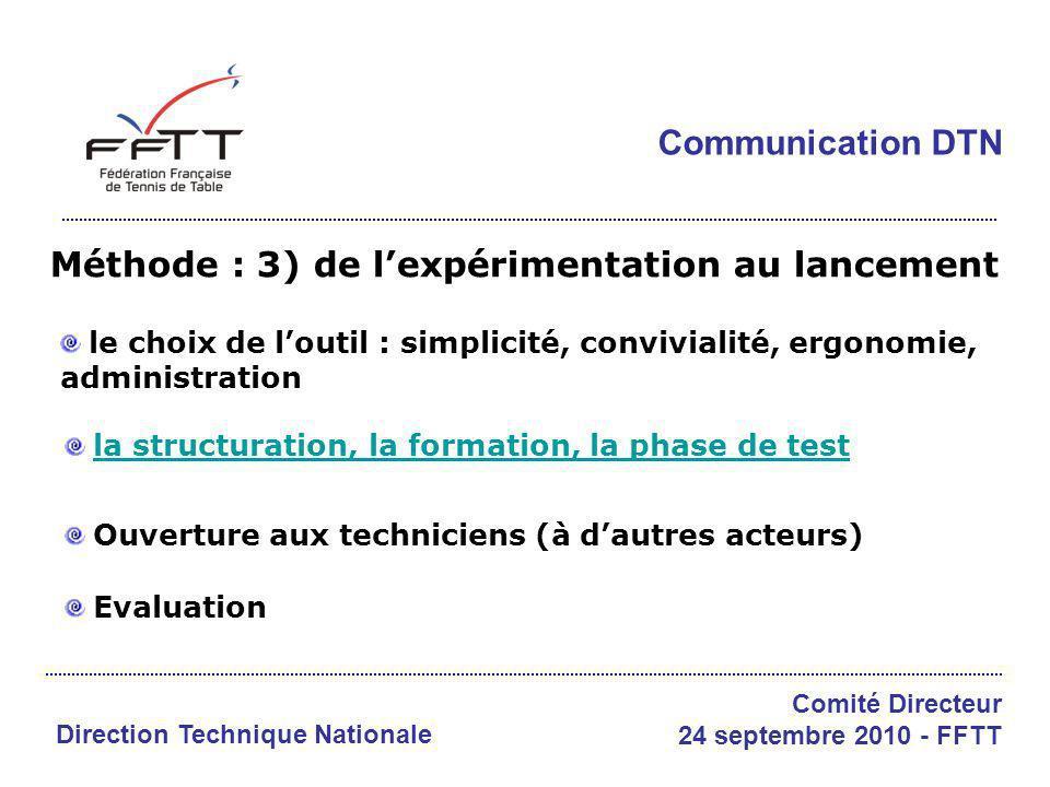 Méthode : 3) de lexpérimentation au lancement le choix de loutil : simplicité, convivialité, ergonomie, administration la structuration, la formation,