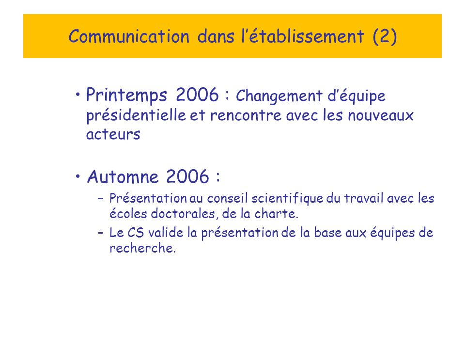 Communication dans létablissement (2) Printemps 2006 : Changement déquipe présidentielle et rencontre avec les nouveaux acteurs Automne 2006 : –Présentation au conseil scientifique du travail avec les écoles doctorales, de la charte.