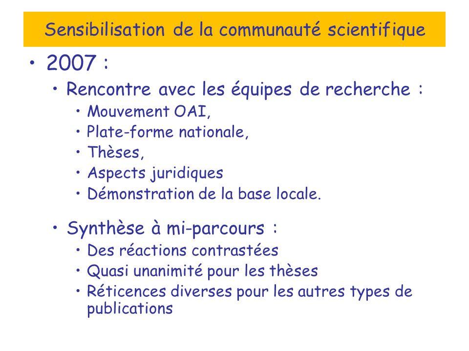 Sensibilisation de la communauté scientifique 2007 : Rencontre avec les équipes de recherche : Mouvement OAI, Plate-forme nationale, Thèses, Aspects juridiques Démonstration de la base locale.
