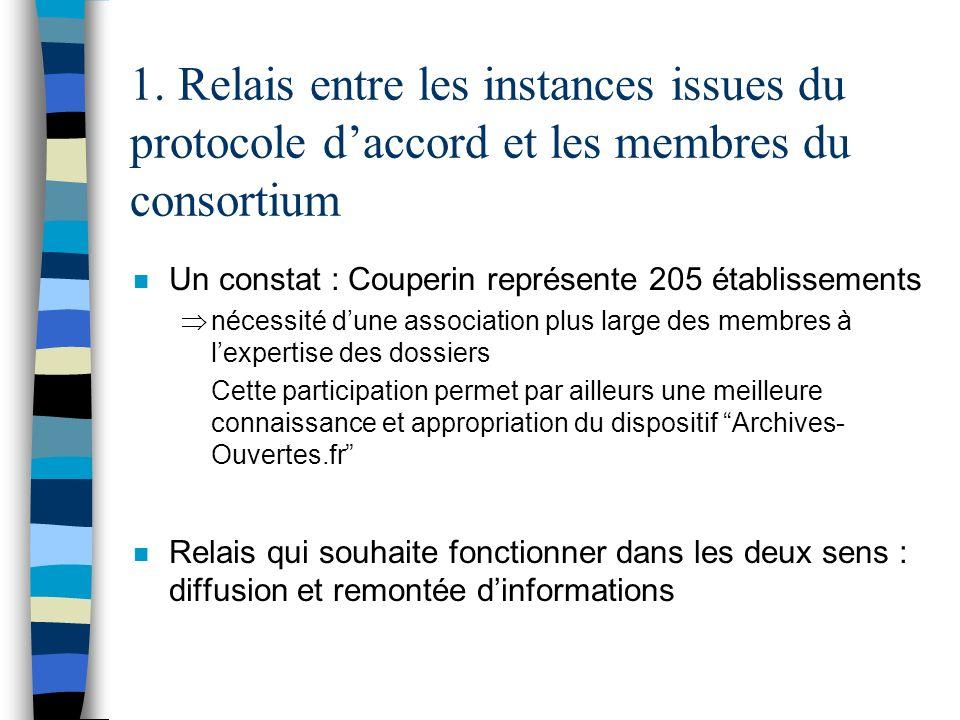 1. Relais entre les instances issues du protocole daccord et les membres du consortium n Un constat : Couperin représente 205 établissements nécessité