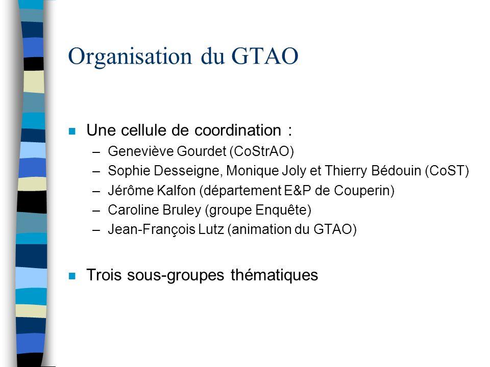 Organisation du GTAO n Une cellule de coordination : –Geneviève Gourdet (CoStrAO) –Sophie Desseigne, Monique Joly et Thierry Bédouin (CoST) –Jérôme Ka