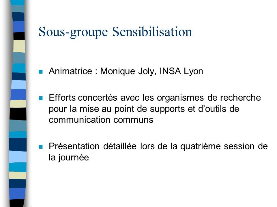 Sous-groupe Sensibilisation n Animatrice : Monique Joly, INSA Lyon n Efforts concertés avec les organismes de recherche pour la mise au point de suppo