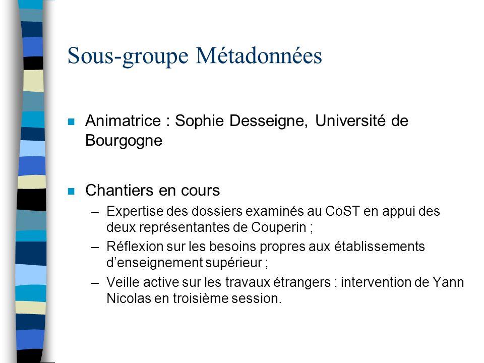 Sous-groupe Métadonnées n Animatrice : Sophie Desseigne, Université de Bourgogne n Chantiers en cours –Expertise des dossiers examinés au CoST en appu