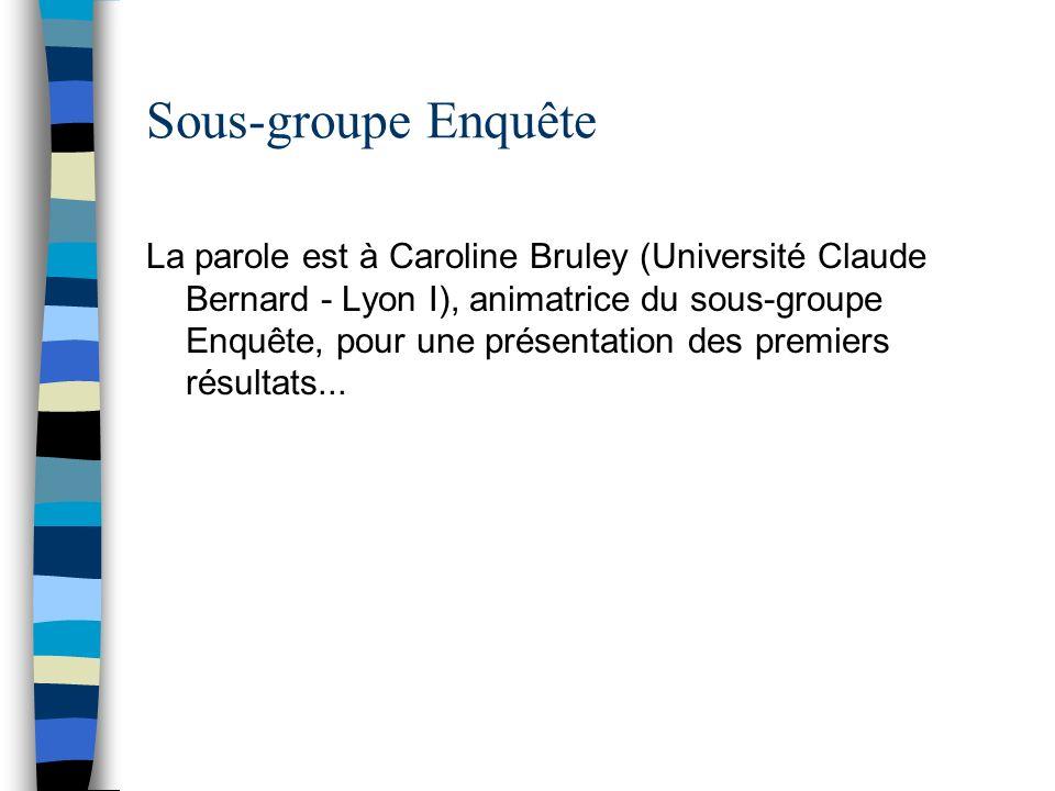 Sous-groupe Enquête La parole est à Caroline Bruley (Université Claude Bernard - Lyon I), animatrice du sous-groupe Enquête, pour une présentation des