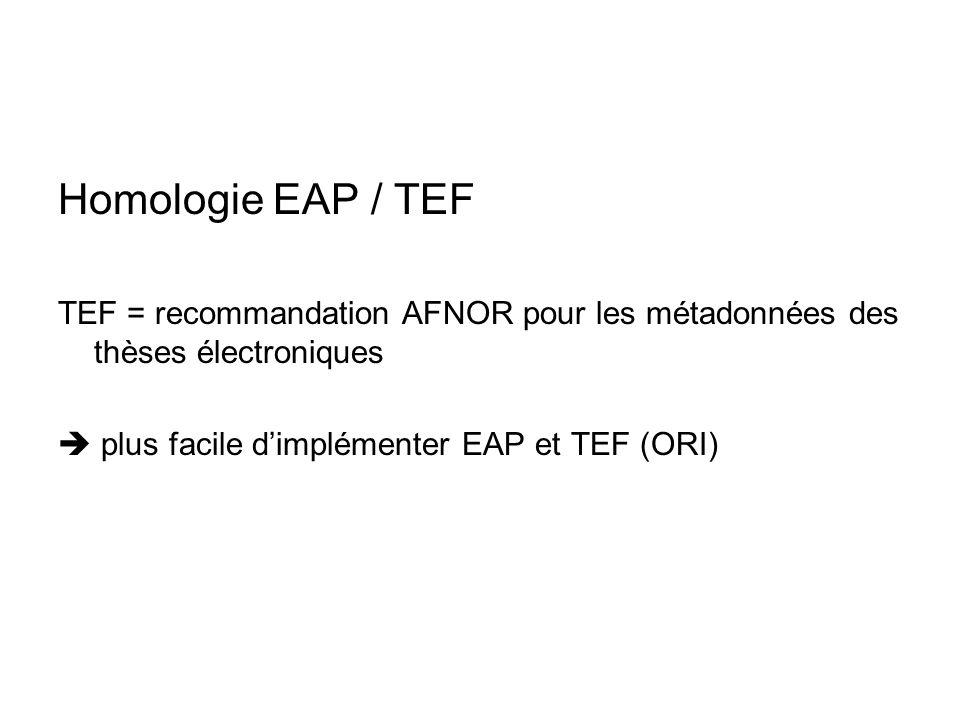 Homologie EAP / TEF TEF = recommandation AFNOR pour les métadonnées des thèses électroniques plus facile dimplémenter EAP et TEF (ORI)
