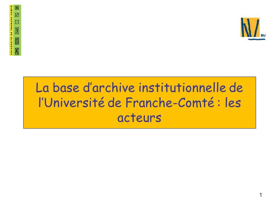 1 La base darchive institutionnelle de lUniversité de Franche-Comté : les acteurs