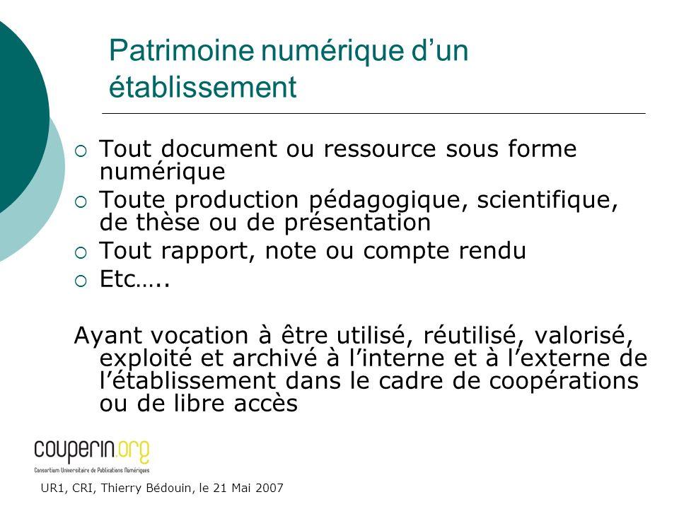 UR1, CRI, Thierry Bédouin, le 21 Mai 2007 Patrimoine numérique dun établissement Tout document ou ressource sous forme numérique Toute production péda
