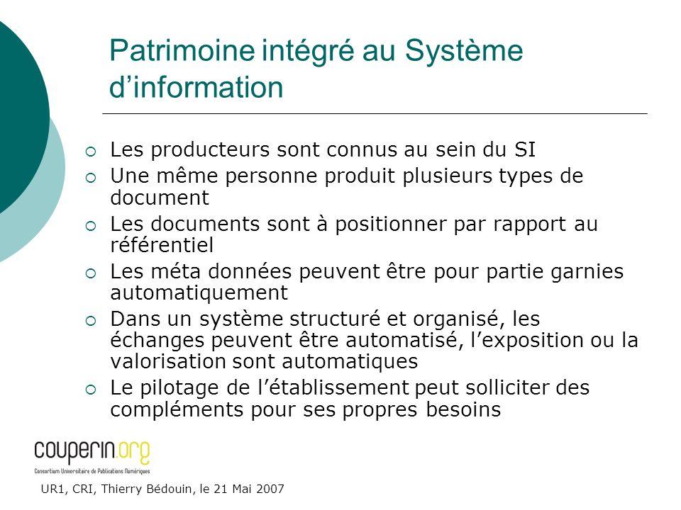 UR1, CRI, Thierry Bédouin, le 21 Mai 2007 Patrimoine intégré au Système dinformation Les producteurs sont connus au sein du SI Une même personne produ