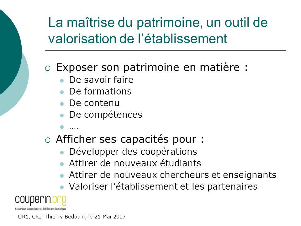 UR1, CRI, Thierry Bédouin, le 21 Mai 2007 La maîtrise du patrimoine, un outil de valorisation de létablissement Exposer son patrimoine en matière : De savoir faire De formations De contenu De compétences ….