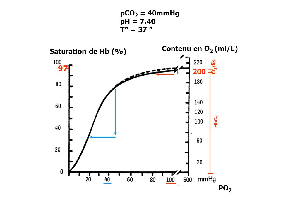Saturation de Hb (%) Contenu en O 2 (ml/L) 200 97 _ _ _ O 2 dis HbO 2 pCO 2 = 40mmHg pH = 7.40 T° = 37 ° PO 2