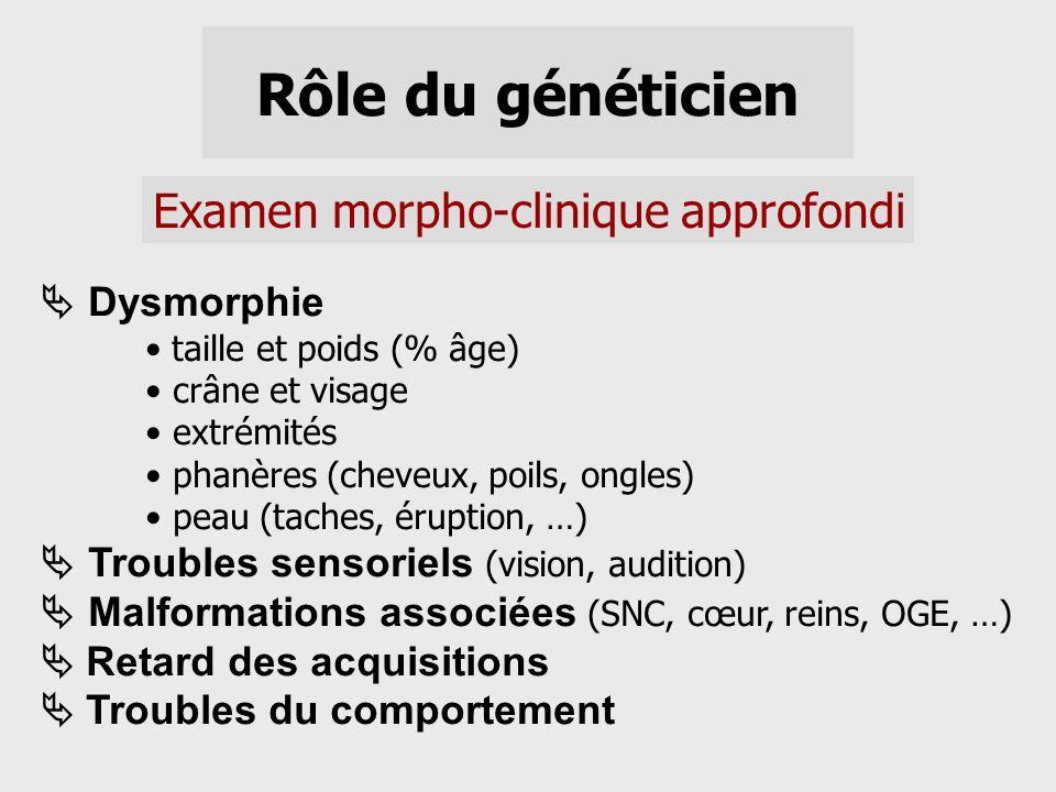 Rôle du généticien Examen morpho-clinique approfondi Dysmorphie taille et poids (% âge) crâne et visage extrémités phanères (cheveux, poils, ongles) p