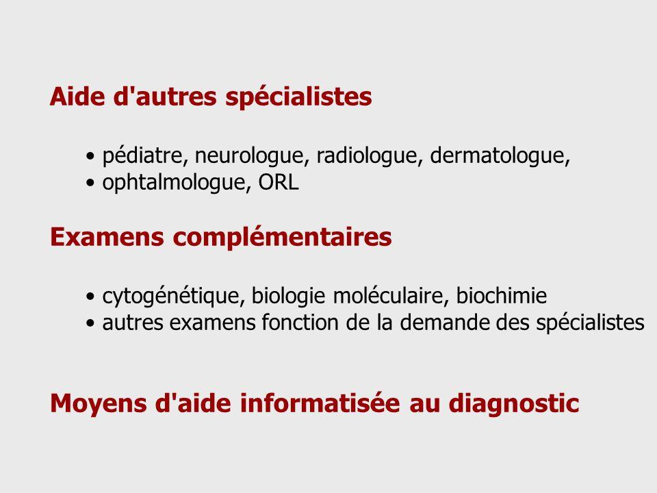 Aide d'autres spécialistes pédiatre, neurologue, radiologue, dermatologue, ophtalmologue, ORL Examens complémentaires cytogénétique, biologie molécula