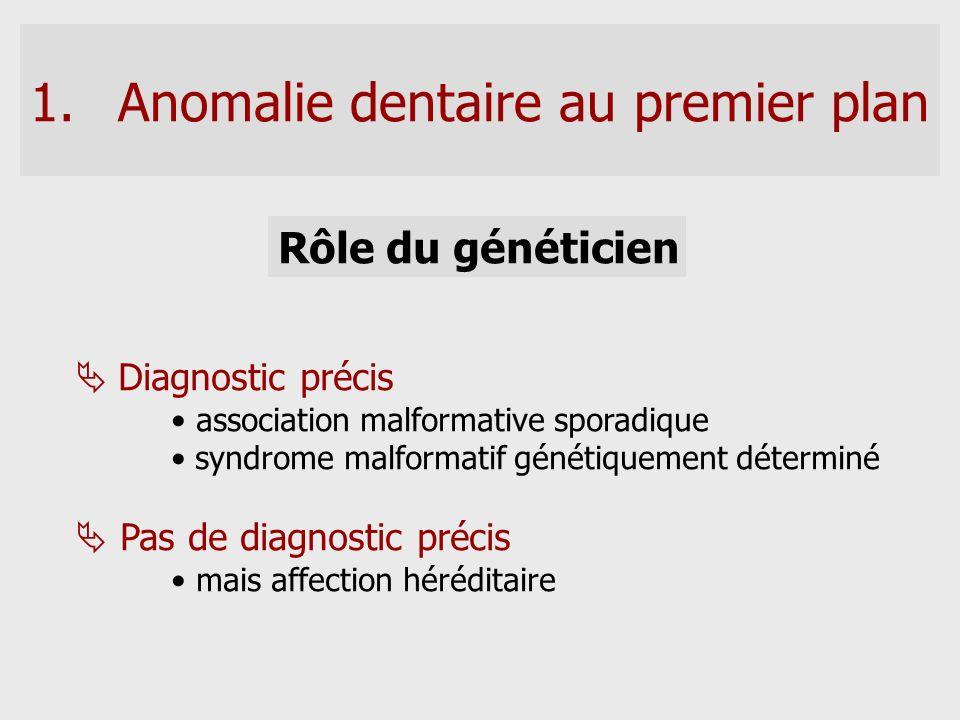 Rôle du généticien Diagnostic précis association malformative sporadique syndrome malformatif génétiquement déterminé Pas de diagnostic précis mais af