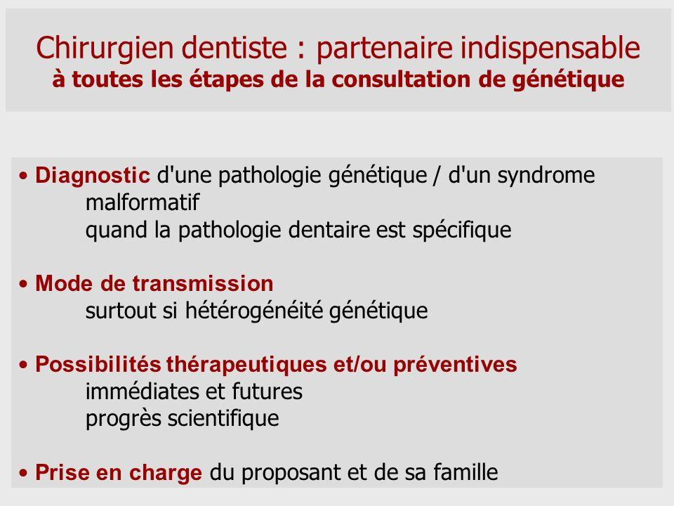Chirurgien dentiste : partenaire indispensable à toutes les étapes de la consultation de génétique Diagnostic d'une pathologie génétique / d'un syndro