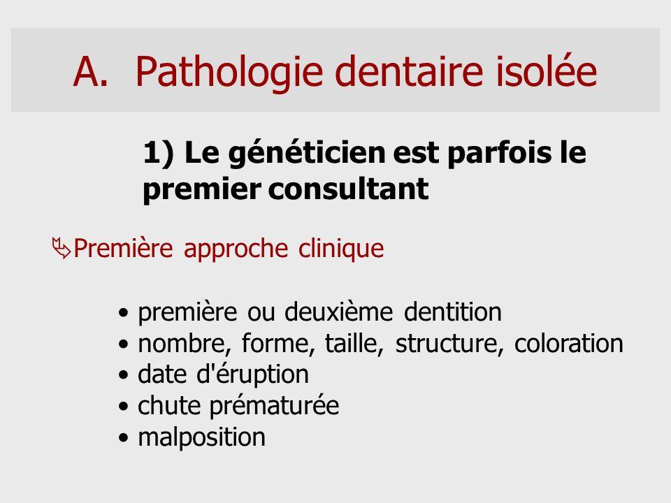 A.Pathologie dentaire isolée 1) Le généticien est parfois le premier consultant Première approche clinique première ou deuxième dentition nombre, form