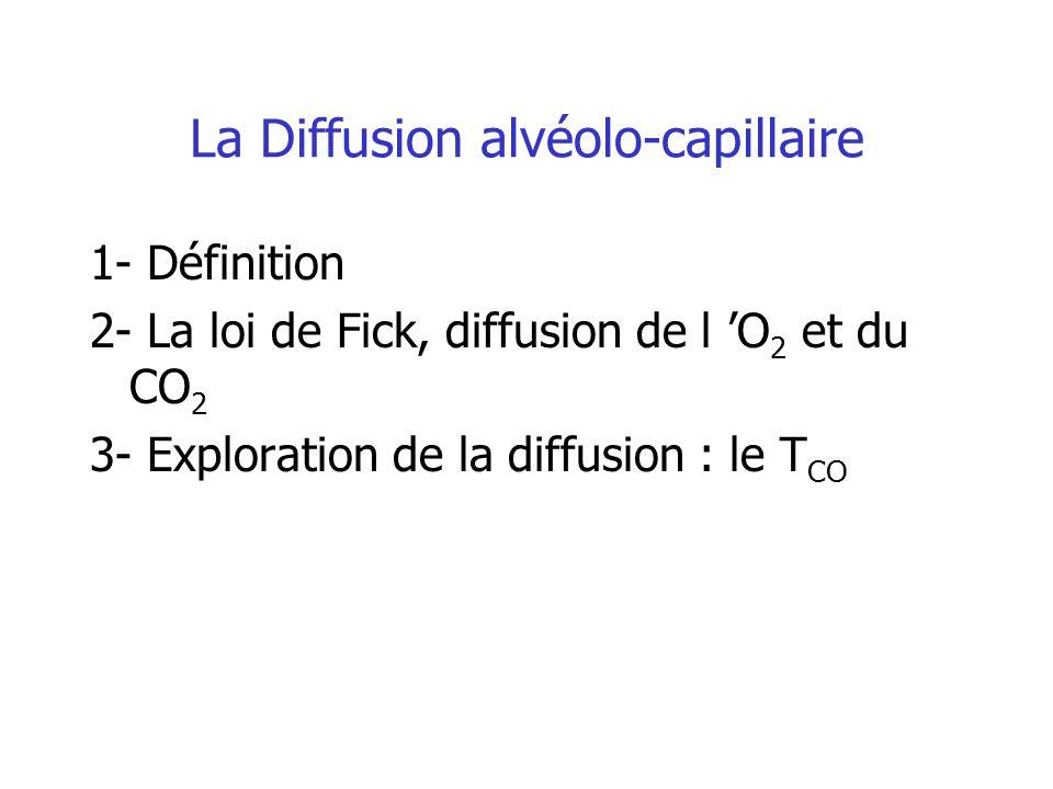 La Diffusion alvéolo-capillaire 1- Définition 2- La loi de Fick, diffusion de l O 2 et du CO 2 3- Exploration de la diffusion : le T CO