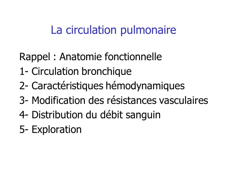 La circulation pulmonaire Rappel : Anatomie fonctionnelle 1- Circulation bronchique 2- Caractéristiques hémodynamiques 3- Modification des résistances