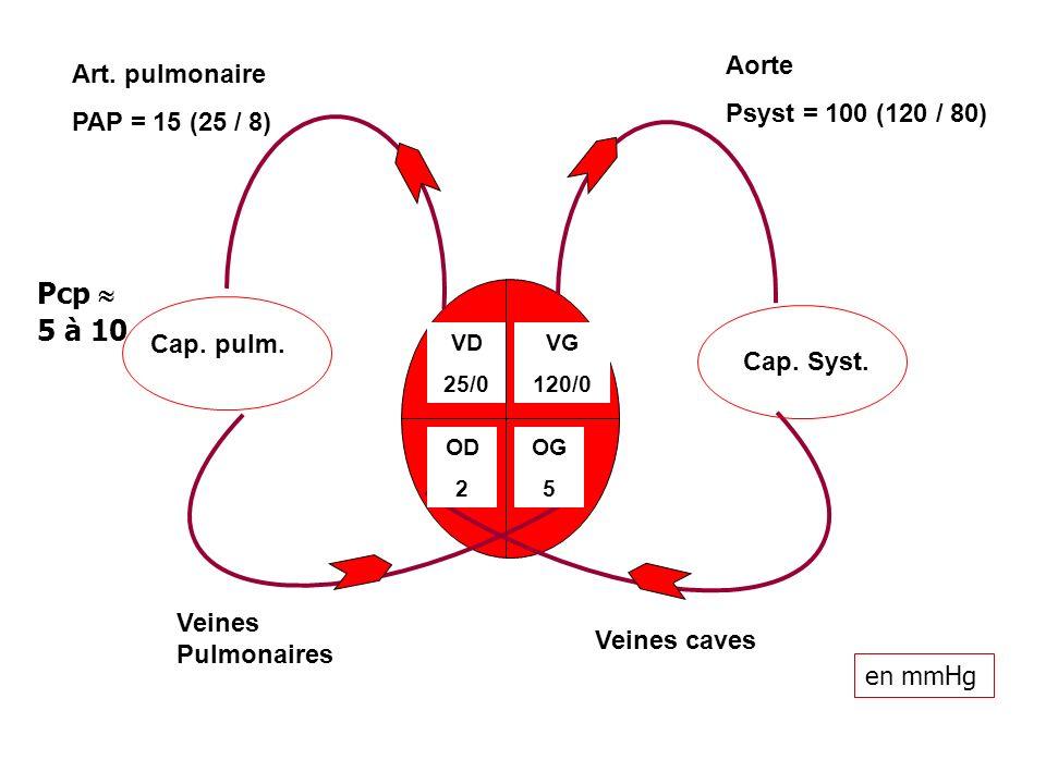 VD 25/0 OG 5 OD 2 VG 120/0 Cap. Syst. Cap. pulm. Art. pulmonaire PAP = 15 (25 / 8) Aorte Psyst = 100 (120 / 80) Veines caves Veines Pulmonaires Pcp 5