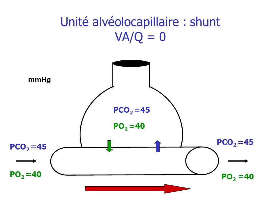 PO 2 =40 mmHg PO 2 =40 Unité alvéolocapillaire : shunt VA/Q = 0 PCO 2 =45