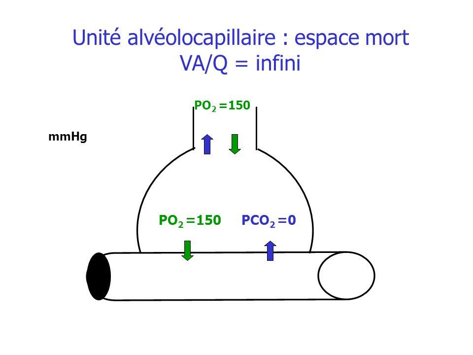 PO 2 =150 mmHg Unité alvéolocapillaire : espace mort VA/Q = infini PO 2 =150 PCO 2 =0