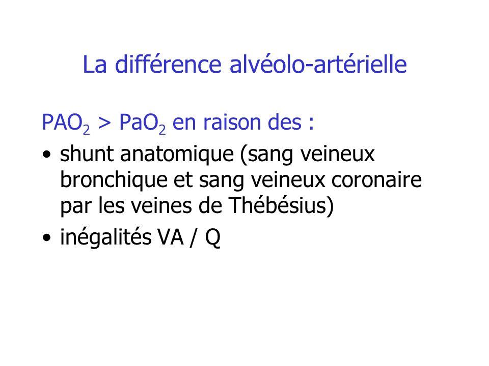 La différence alvéolo-artérielle PAO 2 > PaO 2 en raison des : shunt anatomique (sang veineux bronchique et sang veineux coronaire par les veines de T