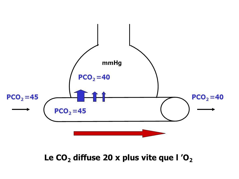 PCO 2 =40 PCO 2 =45 Le CO 2 diffuse 20 x plus vite que l O 2 mmHg PCO 2 =40PCO 2 =45
