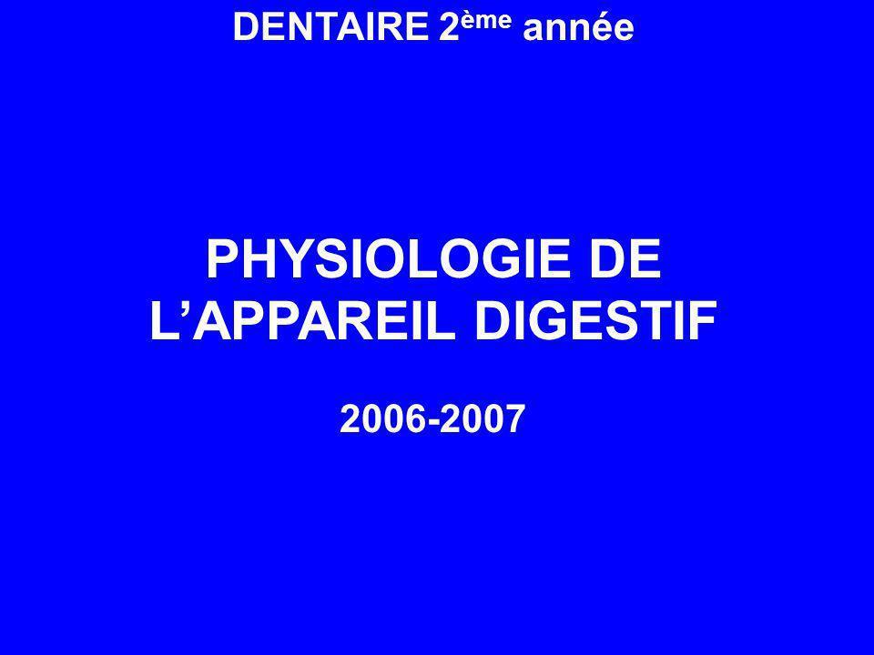 DENTAIRE 2 ème année PHYSIOLOGIE DE LAPPAREIL DIGESTIF 2006-2007