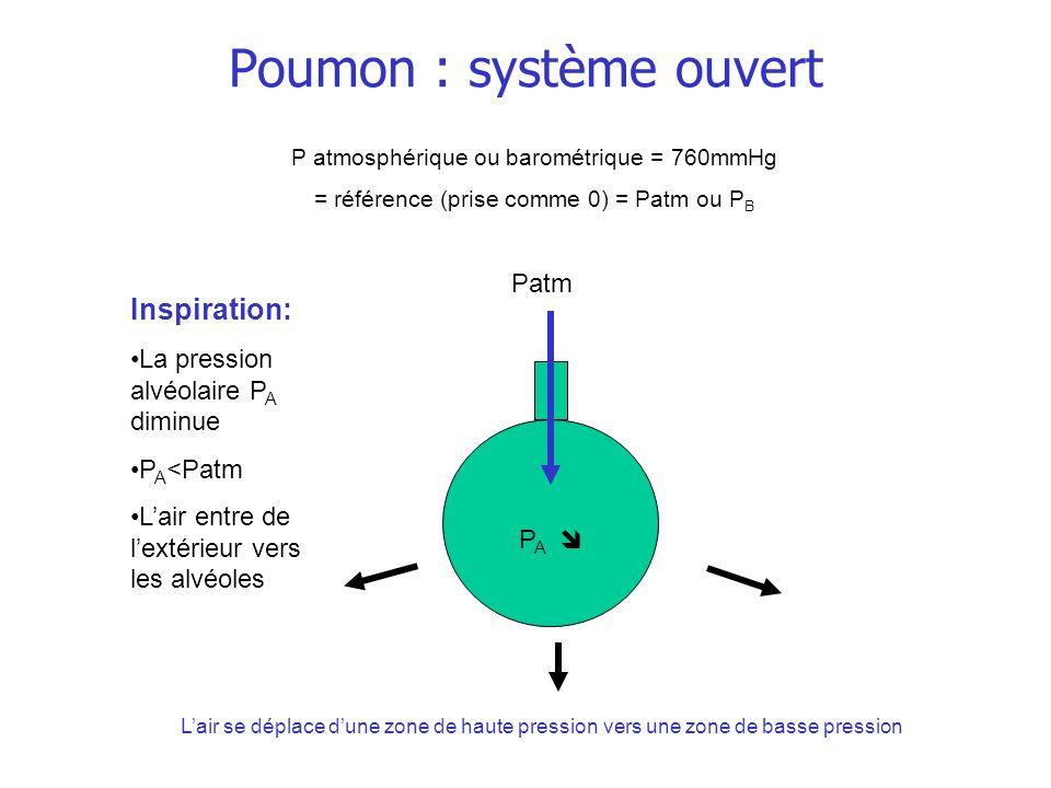 Poumon : système ouvert P A Inspiration: La pression alvéolaire P A diminue P A <Patm Lair entre de lextérieur vers les alvéoles P atmosphérique ou ba