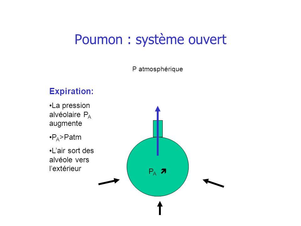 Poumon : système ouvert P A Expiration: La pression alvéolaire P A augmente P A >Patm Lair sort des alvéole vers lextérieur P atmosphérique