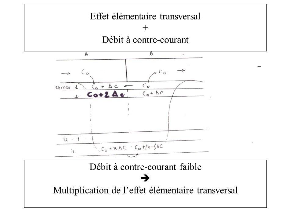 + Débit à contre-courant Débit à contre-courant faible Multiplication de leffet élémentaire transversal
