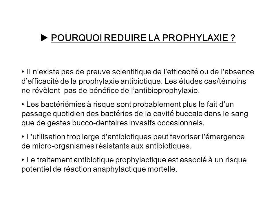 POURQUOI REDUIRE LA PROPHYLAXIE ? Il nexiste pas de preuve scientifique de lefficacité ou de labsence defficacité de la prophylaxie antibiotique. Les