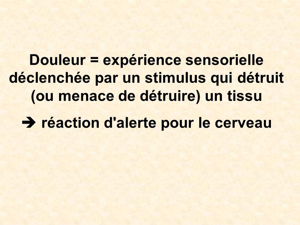 Douleur = expérience sensorielle déclenchée par un stimulus qui détruit (ou menace de détruire) un tissu réaction d'alerte pour le cerveau