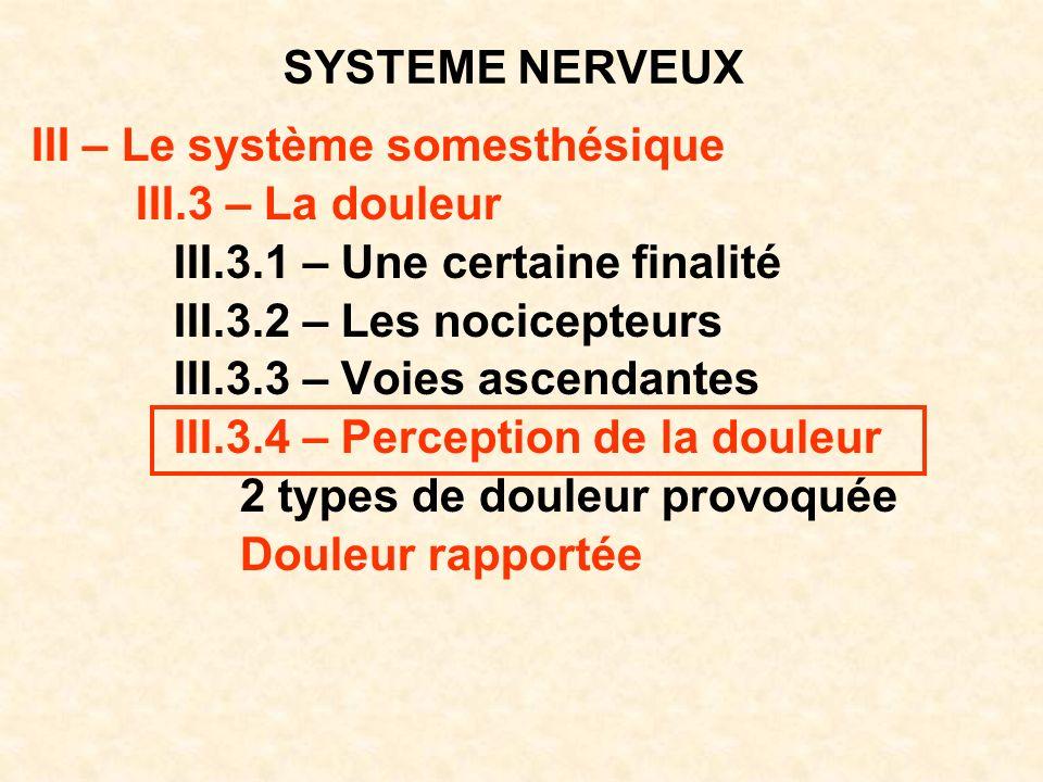 SYSTEME NERVEUX III – Le système somesthésique III.3 – La douleur III.3.1 – Une certaine finalité III.3.2 – Les nocicepteurs III.3.3 – Voies ascendant