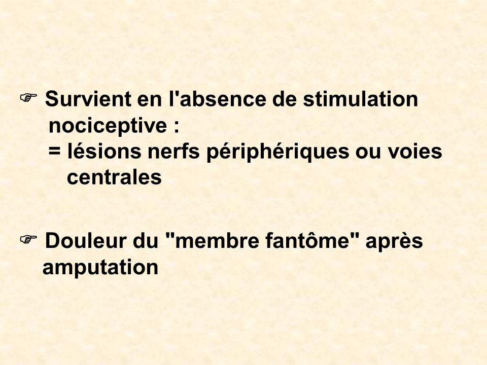 Survient en l'absence de stimulation nociceptive : = lésions nerfs périphériques ou voies centrales Douleur du