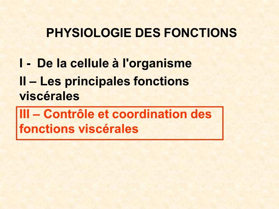 PHYSIOLOGIE DES FONCTIONS I - De la cellule à l'organisme II – Les principales fonctions viscérales III – Contrôle et coordination des fonctions viscé