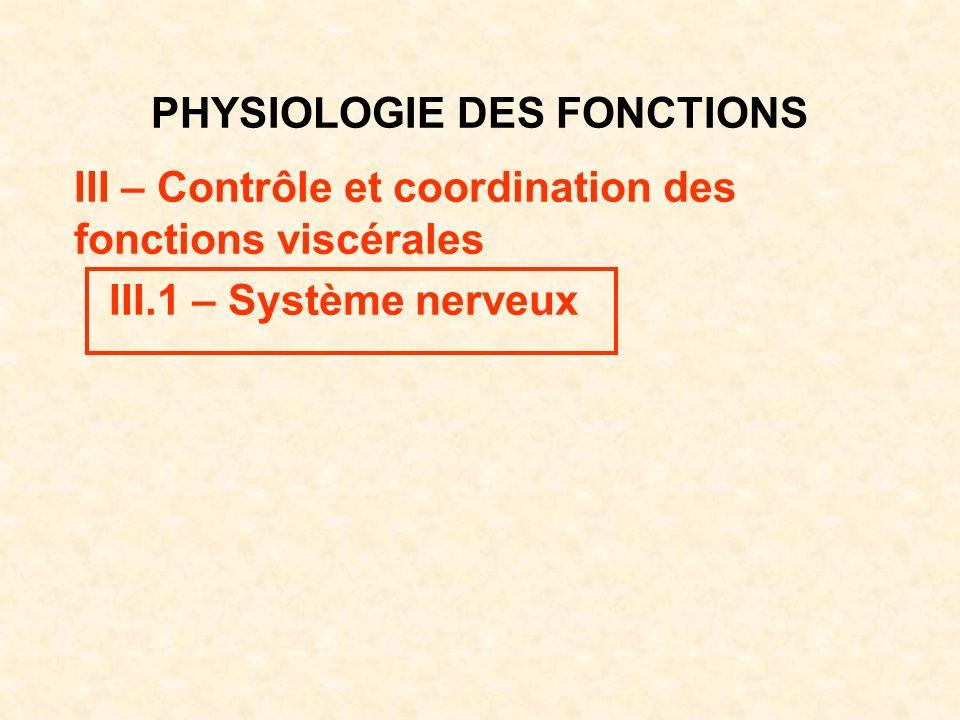 PHYSIOLOGIE DES FONCTIONS III – Contrôle et coordination des fonctions viscérales III.1 – Système nerveux
