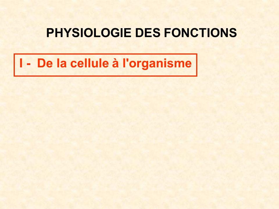 PHYSIOLOGIE DES FONCTIONS I - De la cellule à l'organisme