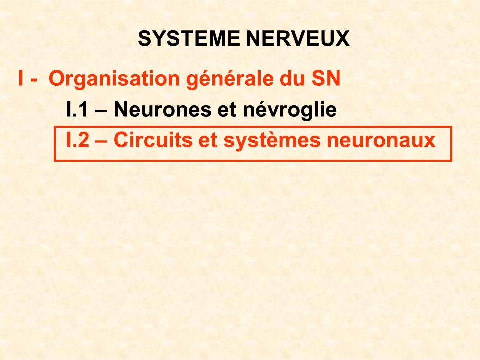 SYSTEME NERVEUX I - Organisation générale du SN I.1 – Neurones et névroglie I.2 – Circuits et systèmes neuronaux