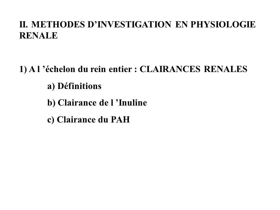 II. METHODES DINVESTIGATION EN PHYSIOLOGIE RENALE 1) A l échelon du rein entier : CLAIRANCES RENALES a) Définitions b) Clairance de l Inuline c) Clair