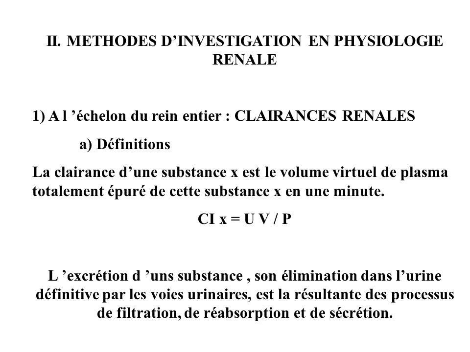 II. METHODES DINVESTIGATION EN PHYSIOLOGIE RENALE 1) A l échelon du rein entier : CLAIRANCES RENALES a) Définitions La clairance dune substance x est
