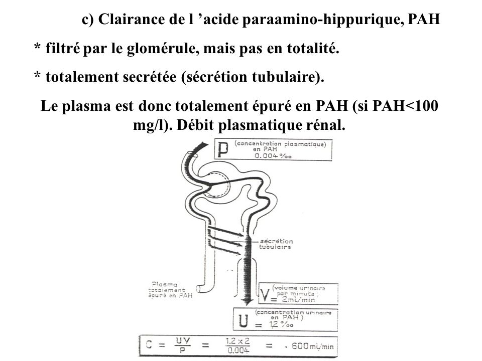 c) Clairance de l acide paraamino-hippurique, PAH * filtré par le glomérule, mais pas en totalité. * totalement secrétée (sécrétion tubulaire). Le pla