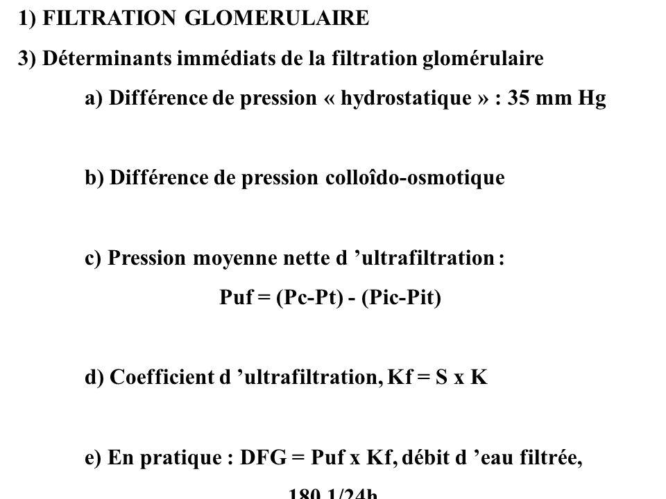 1) FILTRATION GLOMERULAIRE 3) Déterminants immédiats de la filtration glomérulaire a) Différence de pression « hydrostatique » : 35 mm Hg b) Différence de pression colloîdo-osmotique c) Pression moyenne nette d ultrafiltration : Puf = (Pc-Pt) - (Pic-Pit) d) Coefficient d ultrafiltration, Kf = S x K e) En pratique : DFG = Puf x Kf, débit d eau filtrée, 180 1/24h
