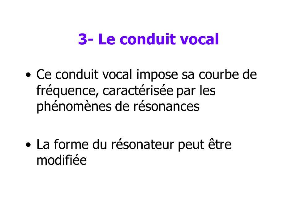 3- Le conduit vocal Le son est ensuite modifié, filtré lorsquil passe dans le conduit vocal (pharynx et cavité buccale essentiellement), qui agit comm