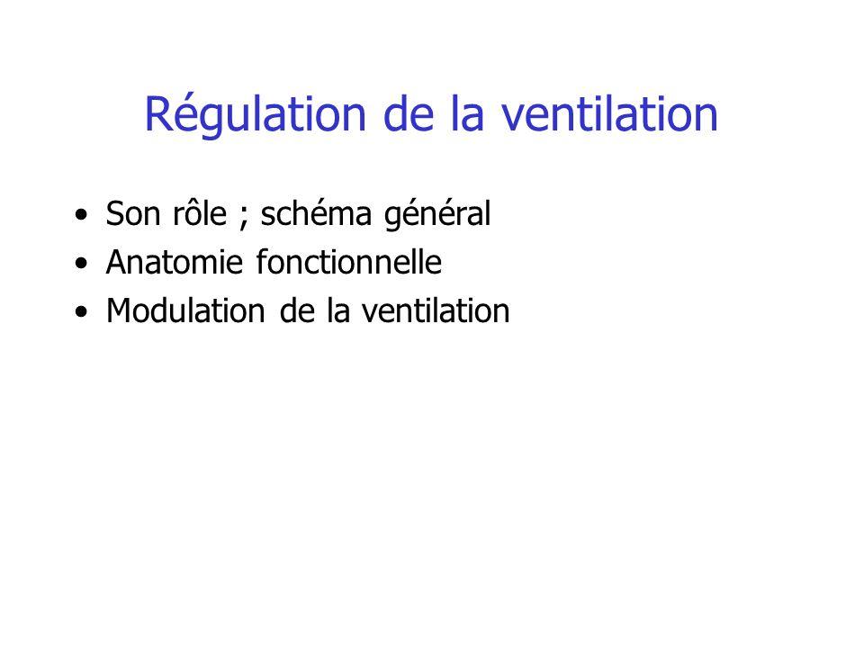 Régulation de la ventilation Rôle et Schéma général VO 2 et VCO 2 varient beaucoup mais cela n entraîne pas de variation importante de la PO 2 et de la PCO 2 Ceci est possible grâce à une régulation étroite de la ventilation..