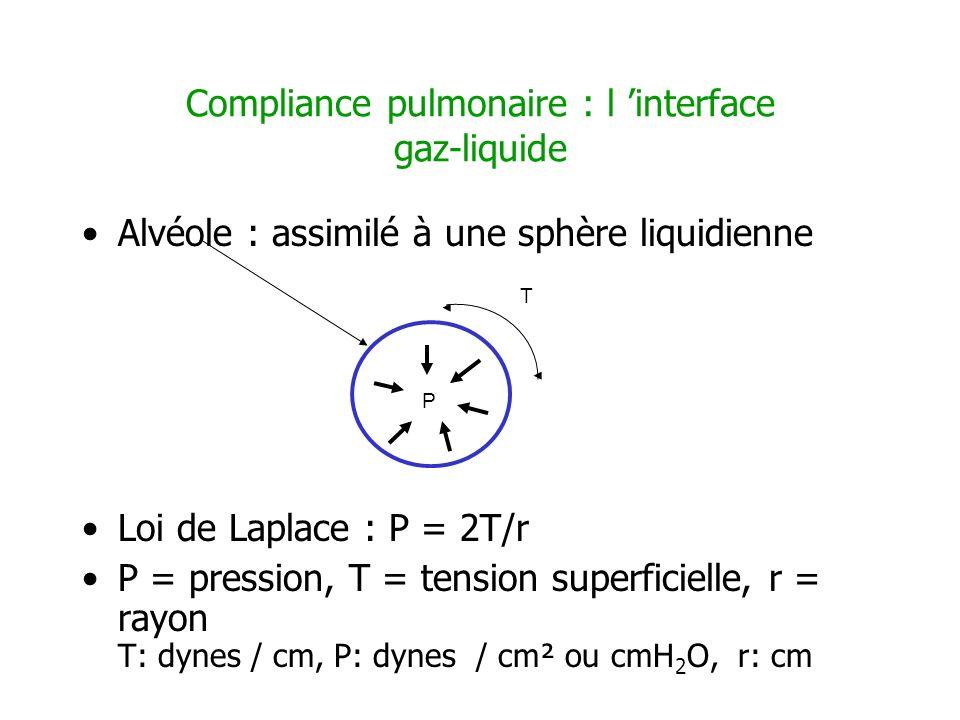 Compliance pulmonaire : l interface gaz-liquide Alvéole : assimilé à une sphère liquidienne Loi de Laplace : P = 2T/r P = pression, T = tension superf