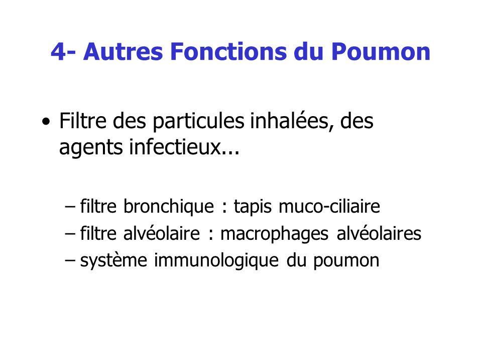 4- Autres Fonctions du Poumon Filtre des particules inhalées, des agents infectieux... –filtre bronchique : tapis muco-ciliaire –filtre alvéolaire : m